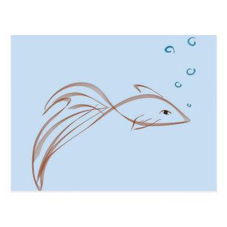 Fancy tailed goldfish postcard