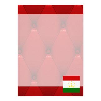 "Fancy Tajikistan Flag on red velvet background 5"" X 7"" Invitation Card"