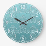 Fancy Teal Aqua Turquoise and White Damask Round Clock