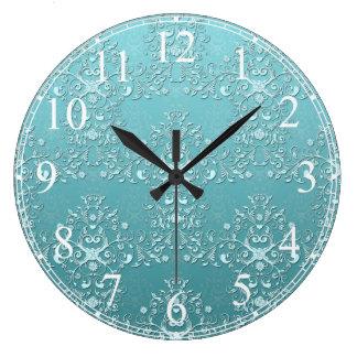 Fancy Teal Aqua Turquoise and White Damask Large Clock