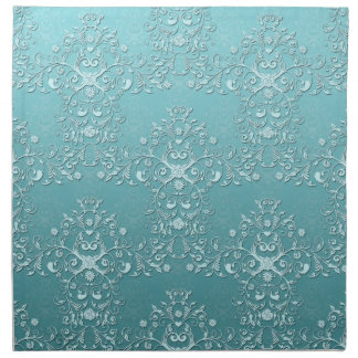 Fancy Teal Aqua Turquoise and White Damask Napkin