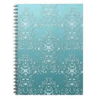 Fancy Teal Aqua Turquoise and White Damask Journal