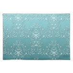 Fancy Teal Aqua Turquoise and White Damask Cloth Placemat