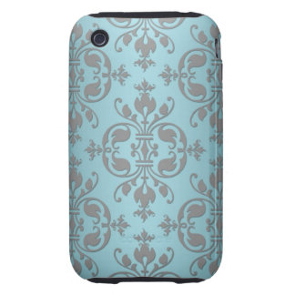 Fancy Teal Blue and Grey Damask Tough iPhone 3 Case