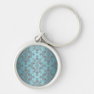 Fancy Teal Blue and Grey Damask Keychain