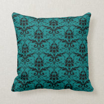 Fancy Teal Damask Pattern Girly Throw Pillow