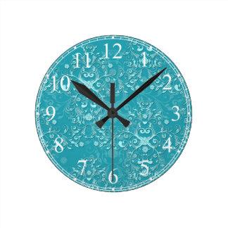 Fancy Teal Floral Damask Pattern Round Clock