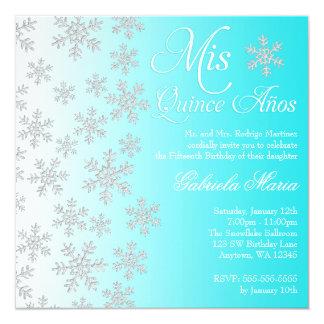 Fancy Teal Snowflake Winter Wonderland Quinceanera Card