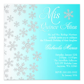 Fancy Teal Snowflake Winter Wonderland Quinceanera 5.25x5.25 Square Paper Invitation Card