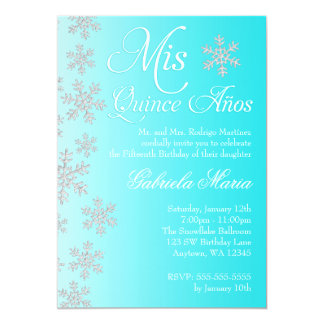 Fancy Teal Snowflake Winter Wonderland Quinceanera 5x7 Paper Invitation Card