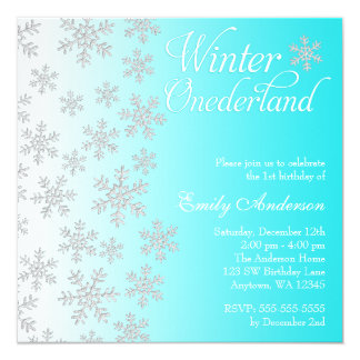 Fancy Teal Snowflakes Winter Onederland Birthday Card