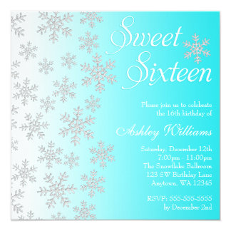 Fancy Teal Snowflakes Winter Wonderland Sweet 16 5.25x5.25 Square Paper Invitation Card