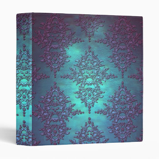 Fancy Teal to Purple Damask Pattern Vinyl Binders