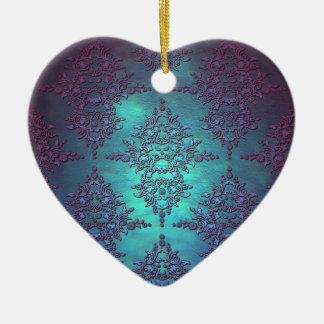 Fancy Teal to Purple Damask Pattern Ceramic Ornament