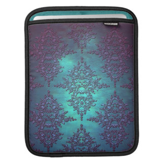 Fancy Teal to Purple Damask Pattern Sleeves For iPads
