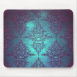 Fancy Teal to Purple Damask Pattern Mouse Pad