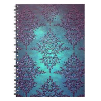 Fancy Teal to Purple Damask Pattern Spiral Notebooks