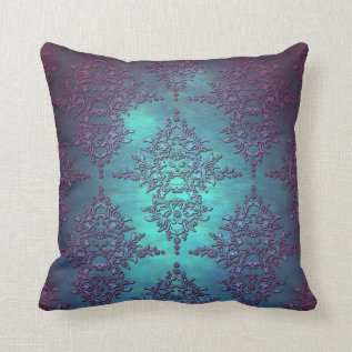 Fancy Teal To Purple Damask Pattern Throw Pillow at Zazzle