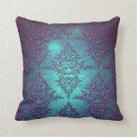 Fancy Teal to Purple Damask Pattern Throw Pillow
