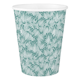 Fancy Teal Tulips Paper Cup