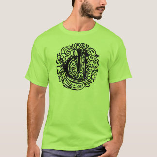 Fancy Text, Monogram, Initial, Letter, Monarchia C T-Shirt