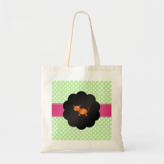 Fancy tiger green polka dots canvas bags