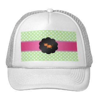 Fancy tiger green polka dots trucker hat