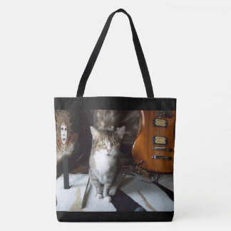 Fancy Tote Bag with a Cute Cat, Fairy and Guitar