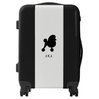 Fancy Toy Poodle Silhouette with Custom Text Luggage