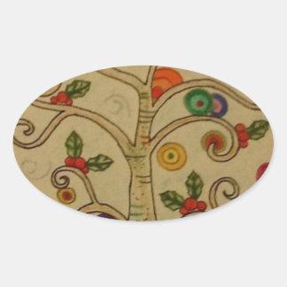 Fancy Tree Oval Sticker