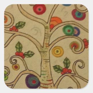 Fancy Tree Square Sticker