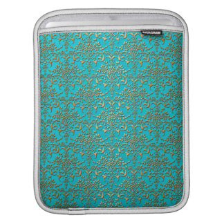 Fancy Turquoise and Gold Damask Pattern Sleeve For iPads