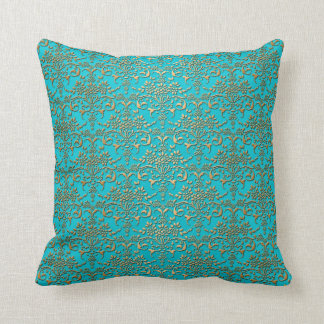 Fancy Turquoise and Gold Damask Pattern Throw Pillow