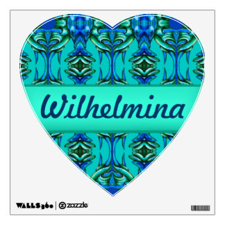 fancy turquoise blue circle tusk heart decal