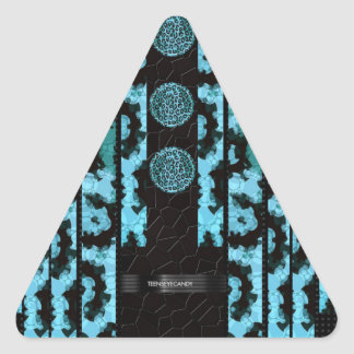 Fancy Turquoise Cheetah Triangle Sticker