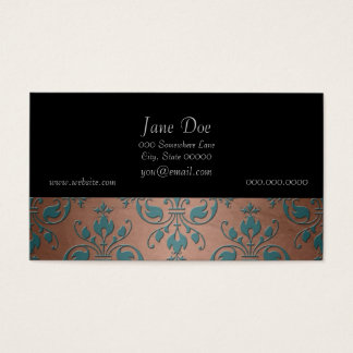 Fancy Turquoise over Brownish Copper Damask Business Card