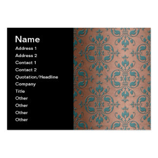 Fancy Turquoise over Brownish Copper Damask Business Card Template