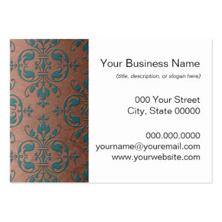 Fancy Turquoise over Brownish Copper Damask Business Card Templates