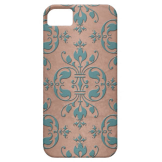 Fancy Turquoise over Brownish Copper Damask iPhone 5 Cover