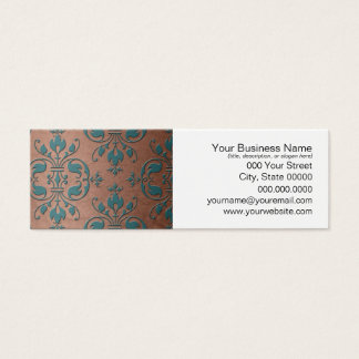 Fancy Turquoise over Brownish Copper Damask Mini Business Card