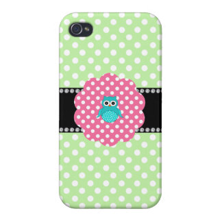 Fancy turquoise owl iPhone 4 cover