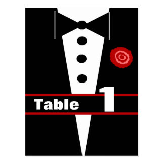 Fancy Tux Table Number Card