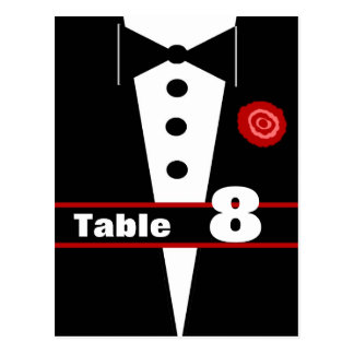 Fancy Tux Table Number Card 8