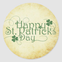 Fancy Typography Happy St. Patrick's Day Classic Round Sticker