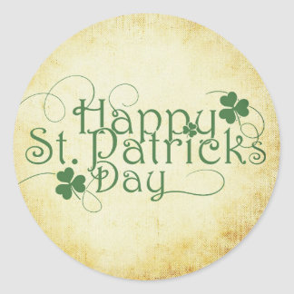 Fancy Typography Happy St. Patrick's Day Classic Round Sticker