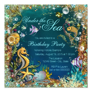 fancy under the sea birthday party card - Under The Sea Party Invitations