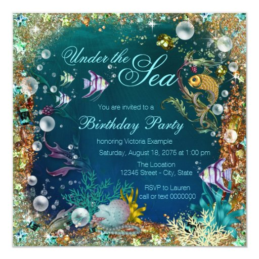 Fancy Under The Sea Birthday Party Card Zazzle