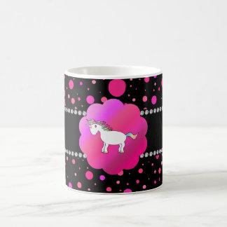 Fancy unicorn pink polka dots classic white coffee mug
