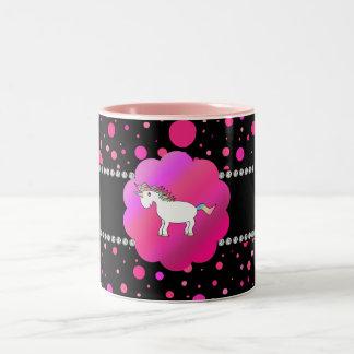 Fancy unicorn pink polka dots Two-Tone coffee mug