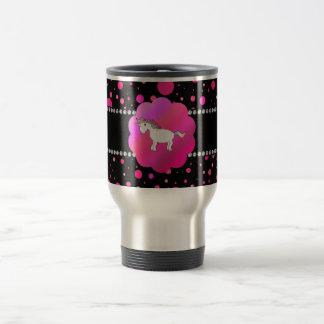 Fancy unicorn pink polka dots 15 oz stainless steel travel mug
